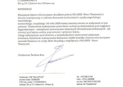 Litwa UAB Referencje